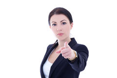 Young businesswoman pointing at you isolated on white Stock Photos
