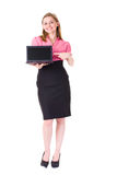 Young businesswoman points to netbook computer Stock Image
