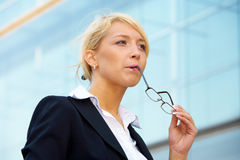 Young Businesswoman Pondering Stock Photos
