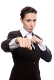Young businesswoman punching Stock Photography
