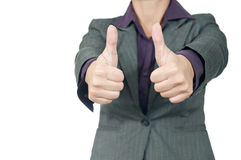 Young businesswoman raising hand and showing sign ok. Stock Photography