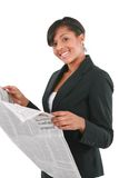 Young Businesswoman Reading Newspaper Royalty Free Stock Photos