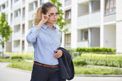 Young businesswoman (real estate agent) Royalty Free Stock Images