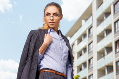 Young businesswoman (real estate agent) Stock Image