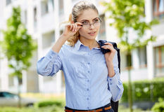 Young businesswoman (real estate agent) Royalty Free Stock Photo