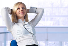 Young businesswoman relaxing Royalty Free Stock Photos