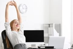 Free Young Businesswoman Relaxing Office Stock Photography - 110313492