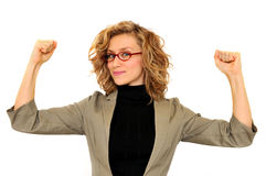 Young businesswoman rising hands Stock Photos