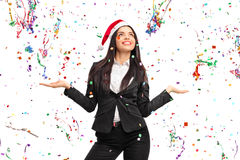 Young businesswoman with a Santa hat Royalty Free Stock Photography