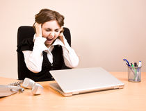 Young businesswoman screaming Royalty Free Stock Images