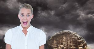 Young businesswoman screaming against cloudy sky Royalty Free Stock Photography