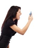 Young businesswoman screaming at the phone Stock Photography