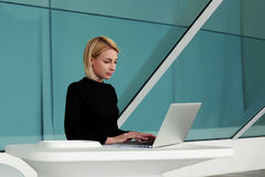 Young businesswoman searching information in internet via laptop computer during work break Stock Image