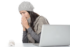 Young businesswoman with a seasonal cold and flu Royalty Free Stock Photography