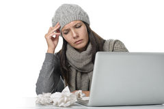 Young businesswoman with a seasonal cold and flu Stock Images