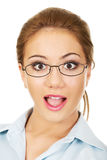 Young businesswoman with shock expression. Royalty Free Stock Photo