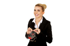 Young businesswoman with shopping trolley Royalty Free Stock Images