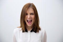 Young businesswoman shouting Royalty Free Stock Photo