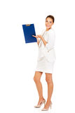 Young businesswoman show empty clipboard.  Stock Images