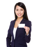 Young businesswoman show with name card Royalty Free Stock Photography