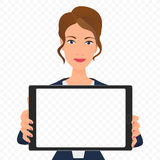 Young businesswoman showing the empty tablet pc screen. Tablet alpha transperant background. Stock Photo