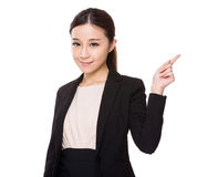 Young Businesswoman showing finger point up Royalty Free Stock Photos