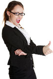 Young businesswoman showing ok sign. Royalty Free Stock Images