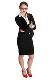 Young businesswoman showing ok sign. Royalty Free Stock Image