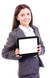 Young businesswoman showing tablet pc Stock Images