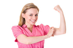 Young businesswoman shows strength and power Royalty Free Stock Images