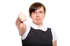 Young businesswoman shows thumb down gesture Royalty Free Stock Photography