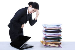 Young businesswoman sick Stock Photo