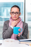 The young businesswoman sick in the office Stock Photography