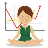 Young businesswoman sits in lotus pose over chart showing positive growth trend Royalty Free Stock Images