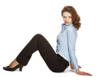 Young businesswoman sitting on the floor Royalty Free Stock Photo