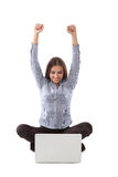 Young businesswoman sitting in yoga pose with laptop Royalty Free Stock Photos