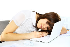 Young businesswoman sleeping Stock Images