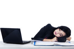 Young Businesswoman Sleeping - Isolated Royalty Free Stock Photo