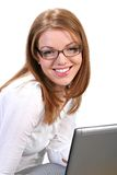 Young Businesswoman Smile in front of computer Royalty Free Stock Images