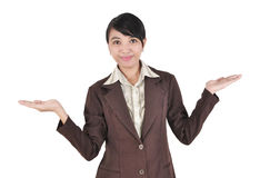 Young businesswoman smiling with her arms open Stock Photos