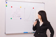 Young businesswoman solves the problem. Young businesswoman with  pen and board Stock Photo