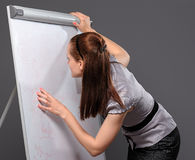 Young businesswoman standing next to flip board and pointing hand Royalty Free Stock Photos