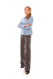 Young businesswoman standing over white background Royalty Free Stock Photo