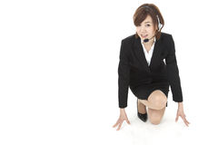 Young businesswoman with the starting line royalty free stock images