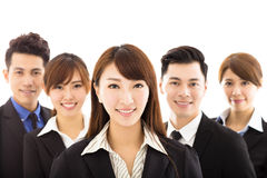 Young businesswoman with successful business team Stock Photo