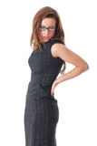 Young businesswoman suffer from backache, isolated. Young attractive businesswoman suffer from backache, shoot over white background Stock Images