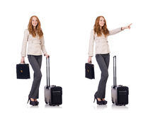 The young businesswoman with suitcase isolated on white Stock Image