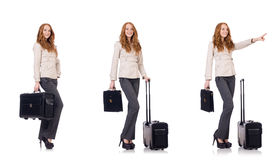 The young businesswoman with suitcase isolated on white Royalty Free Stock Images
