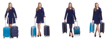 The young businesswoman with suitcase isolated on white Stock Photo