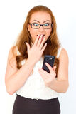 Young  businesswoman with surprised facial expression Royalty Free Stock Images